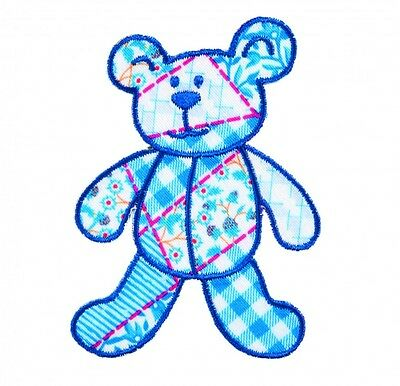 Craft Factory Iron or Sew On Fabric Motif Applique Blue Patchwork Bear - each...