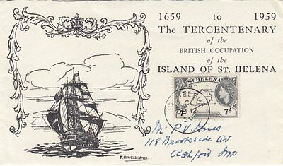 ST HELENA :1959 Terecntenary Commemorative Cover bearing QEII 7d