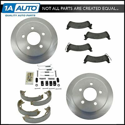 Rear Metallic Pads Rotors Parking Brake Shoes Kit for 95-98 Jeep Grand Cherokee