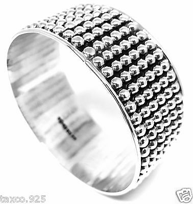 Taxco Mexican 925 Sterling Silver Beaded Bead Bangle Bracelet Mexico