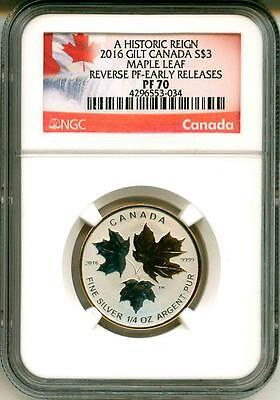 2016 S$3 Canada Gilt Maple Leaf A Historic Reign Reverse Proof ER NGC PF70
