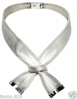 Taxco Mexican 925 Sterling Silver Deco Ribbon Motif Necklace Mexico