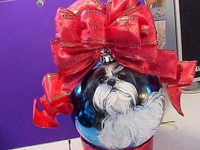 Shih Tzu Puppy Handpainted Christmas Ornament