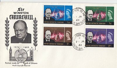 CHURCHILL : 1966 BRITISH ANTARCTIC TERRITORY set  on illustrated First Day Cover