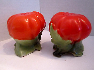 Vintage set of large tomato salt & pepper shakers porcelain Made in Japan