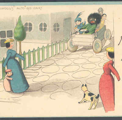 Black, Negro Doll Wildly Drives Car With Penny Wooden Doll Aboard,old Postcard