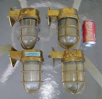 4 Authentic Cast Brass Nautical Passageway Wall Lights- Rewired & Ready  Lot A19