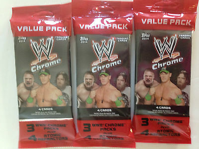 2014 Topps Wwe Chrome  Value Pack ( 3 Pack Lot )