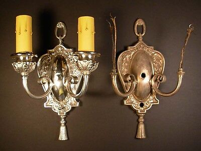 Vintage Double Arm Silver Plate Light Sconce(S) With Tassel-3 Available Sold Sep