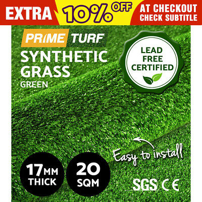 20 SQM Synthetic Turf Artificial Green Grass Plastic Plant Lawn Flooring 17mm