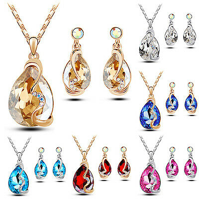 Exquisite Delicate Women Waterdrop Crystal Pendant Necklace Earrings Jewelry Set