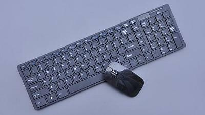Ultra-Slim Multimedia 2.4g Wireless Keyboard and Mouse for Pc Laptop Black UK