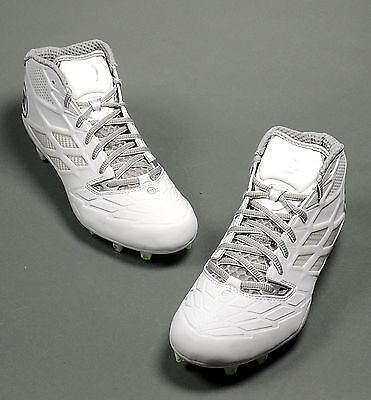 Warrior Burn 8.0 Mens Lacrosse Lax Cleats Mid White/Silver (NEW) Lists @ $89.99
