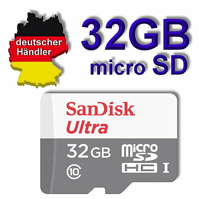 32 GB SanDisk Ultra micro SD Speicherkarte Class 10 SDHC inclusiv SD Adapter