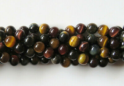 50pcs 8mm Round Natural Gemstone Beads - Tiger's Eye