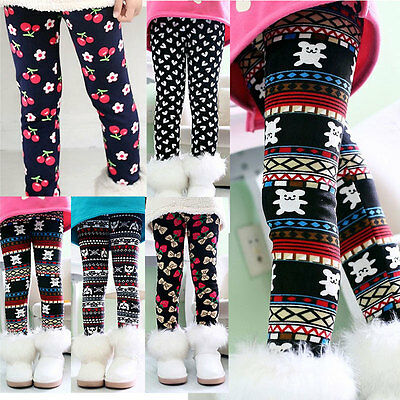 Child Toddler Girls Kids Leggings Fleece Lined Winter Warm Long Trousers Pants