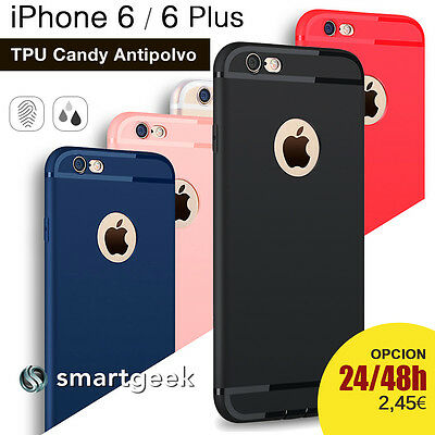 FUNDA TPU Gel ANTIPOLVO para iPHONE 6 6S 6 PLUS logo colores case relieve camara