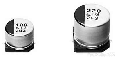 SMD Aluminium Electrolytic Capacitor, Radial Can - SMD, 220 µF, 35 V, 0.3 ohm, T