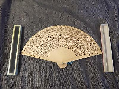 Vintage Spanish Wooden Hand fan With a Case