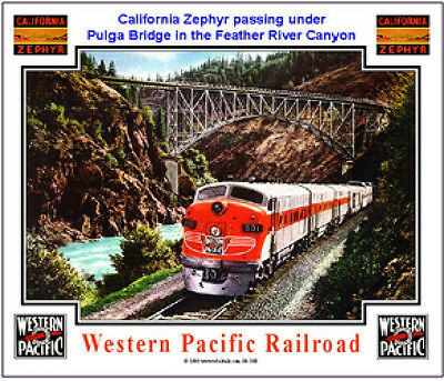 WESTERN PACIFIC RAILROAD TIN SIGN / collectible / train