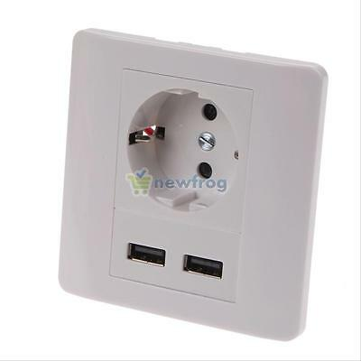 Wall Socket Charger Dual USB Port Station AC Power Receptacle Outlet Plate Panel
