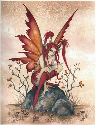 LITTLE RED MISCHIEF FAIRY Poster Amy Brown faery faerie