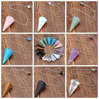 Fashion Gemstone Dowsing Pendulum Chakra Natural Quartz Pendant Silver Chain