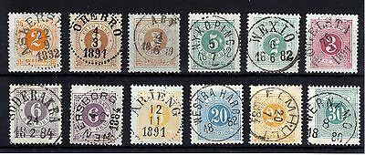 Sweden 1872-1874  12 Stamps   Nice  Clear  Cancels