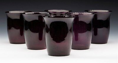Fine Vintage Set Six Amethyst Glass Ribbed Design Tumblers 20Th C.