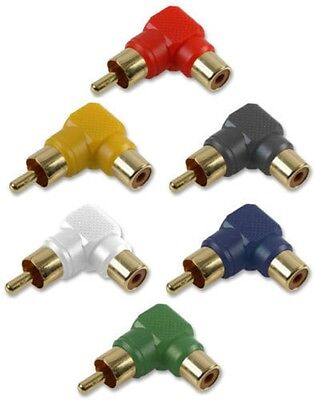 Right Angle RCA Phono Connector Adaptor 90 Degree Composite AV Component GOLD