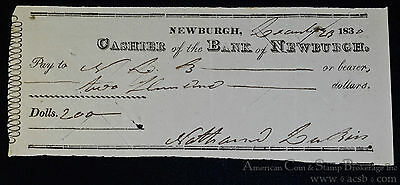 Obsolete Bank Check Bank of Newburgh New York 1830 $200 Early Americana.