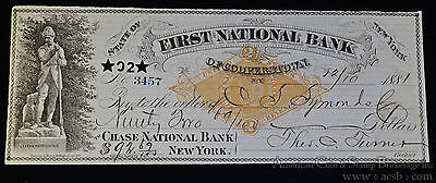 Obsolete Bank Check First National Bank Cooperstown NY 1881 W/ Stamp.