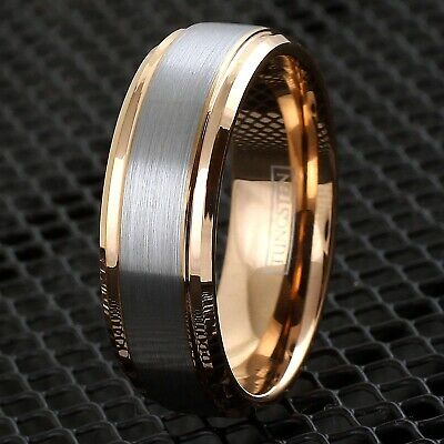 6/8mm Tungsten Men's Rose Gold Brushed Center Band Ring Inside Engraving Avail.