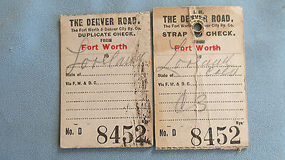 Fort Worth & Denver City Railway Baggage Strap Tags-The Denver Road-1900's