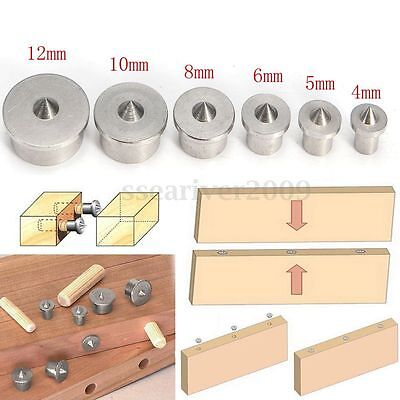 6pcs Dowel Drill Centre Points Pin Wood 4-12mm Dowel Tenon Center For Drill Hole