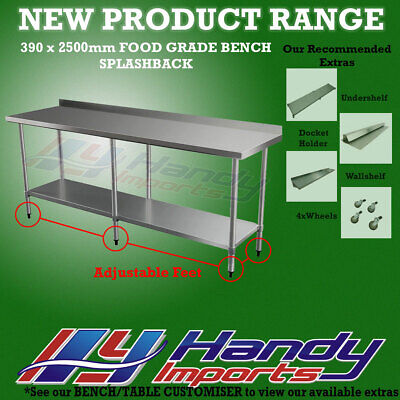 2500 x 390mm STAINLESS STEEL #430 COMMERCIAL FOOD PREP WORK BENCH W/ SPLASH BACK