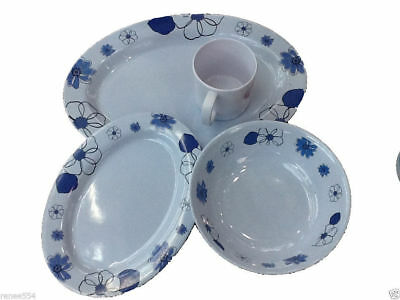 Large Melamine Dinner Set 16 Piece New Camping Kitchenware RV Caravan Boat