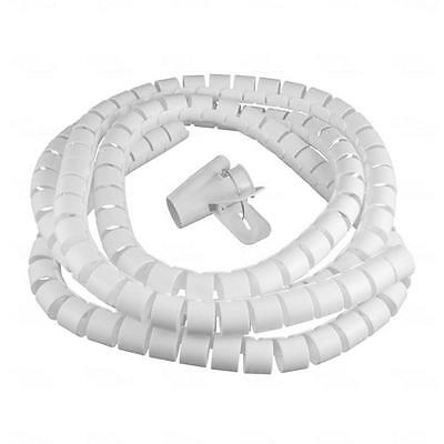 Titan AV Cable Management Easy Wrap Cable Spiral 15mm x 2.5m White