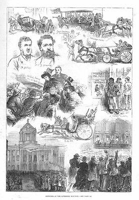 LIVERPOOL Election Scenes on the Day of the Vote - Antique Print 1880