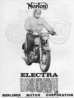"1963 Norton Electra 400 Motorcycle ""All New Vertical Twin"" Original Ad"