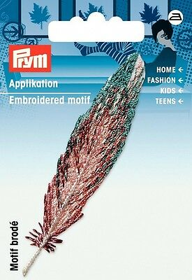 Prym Iron On Feather Applique Motif  Turquoise & Beige - each (926643)