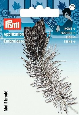 Prym Iron On Feather Applique Motif  Grey & Black - each (926645)