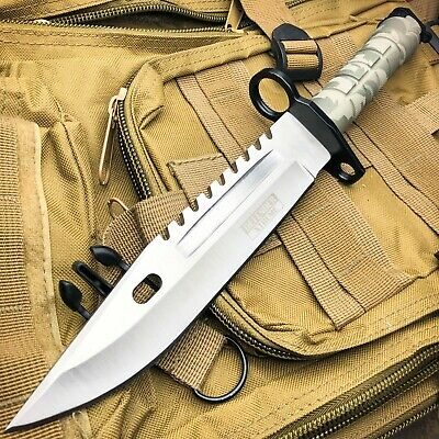 "12"" Tactical Hunting Rambo Combat Fixed Blade Knife Machete Bowie + Survival Kit"