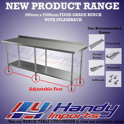 2500x390mm STAINLESS STEEL FOOD GRADE COMMERCIAL FOOD WORK BENCH W/ SPLASH BACK