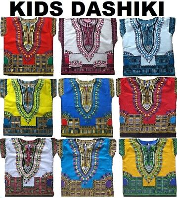 Dashiki Childs Kids Children's African Traditional Tribal T-Shirt Top Boys Girls