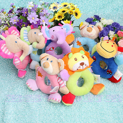 Baby Kids Stuffed Animal Model Wrist Hand Bell Rattle Educational Soft Plush Toy