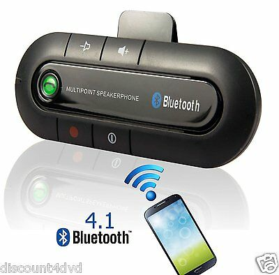 Wireless Speakerphone Car Charger Kit Hands Free Bluetooth Visor Clip iphone 5 6