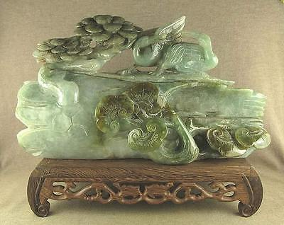 """8.2""""Larger Carved Chinese Antique Jadeite Jade Statue Withered Tree Pine Crane"""
