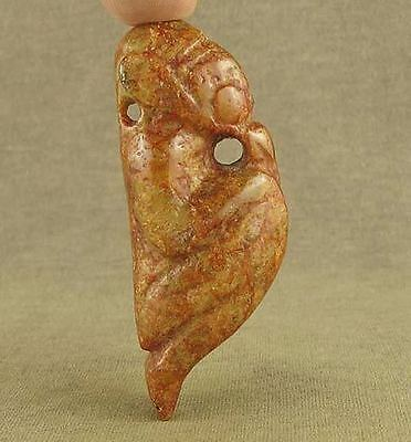 Chinese Hongshan Jade With Carved Mythical Beast Pendant