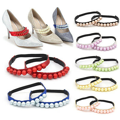 Women Pearl Shoe Straps Elastic Band For Holding Loose High Heeled Shoe 1 Pair